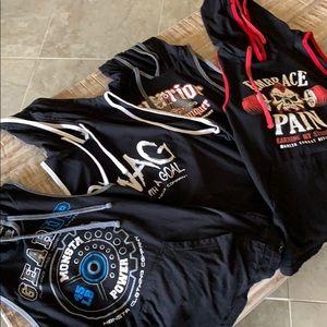 4 Men's sleeveless hoodie workout shirts- Large